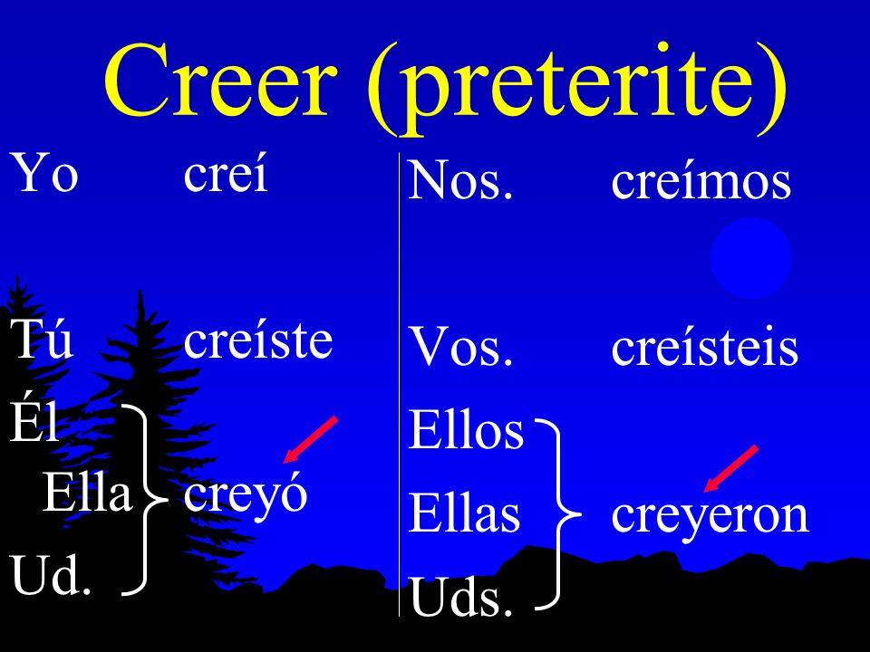Creer (preterite) Yo creí Nos. creímos Tú creíste Vos. creísteis