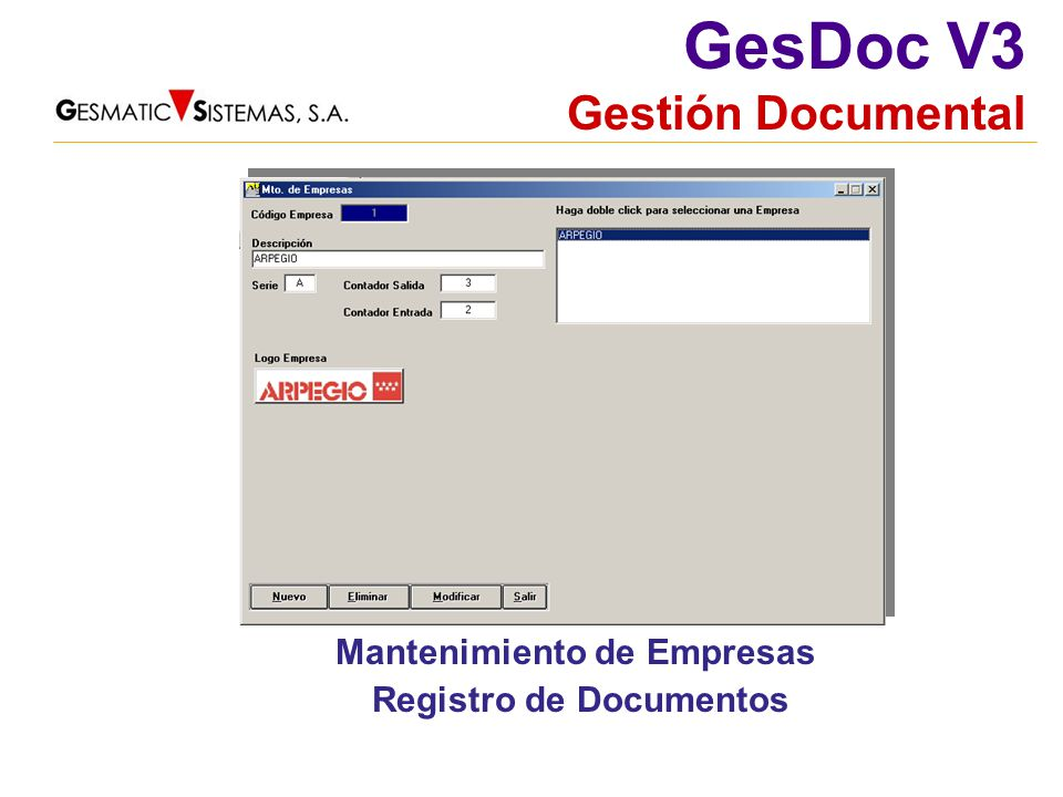 Mantenimiento de Empresas Registro de Documentos
