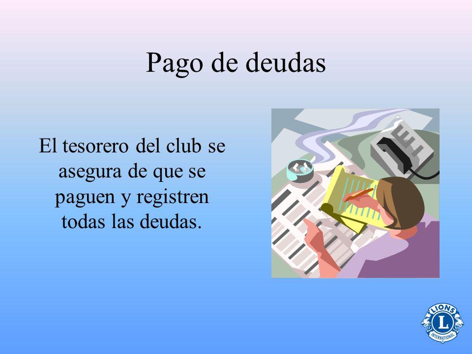 Pago de deudas El tesorero del club se asegura de que se paguen y registren todas las deudas. 14