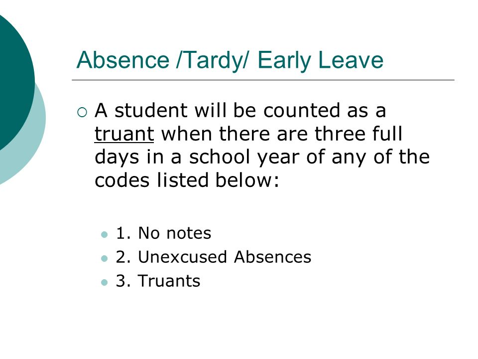 Absence /Tardy/ Early Leave