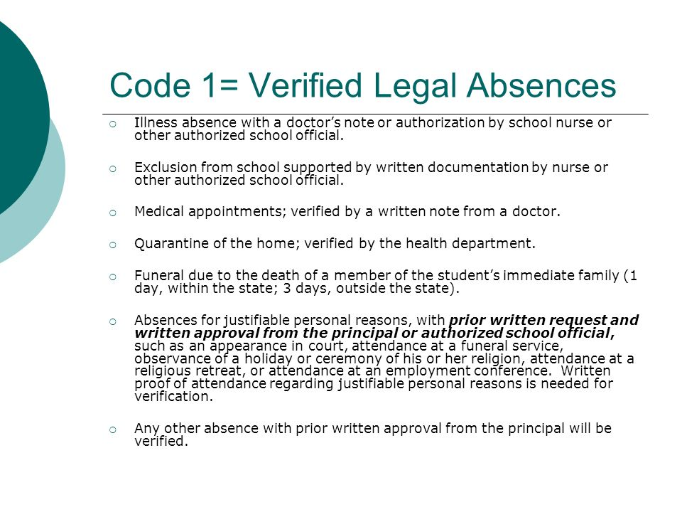 Code 1= Verified Legal Absences