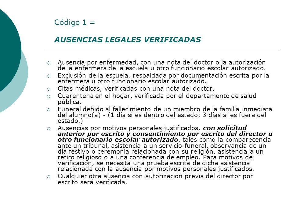 AUSENCIAS LEGALES VERIFICADAS