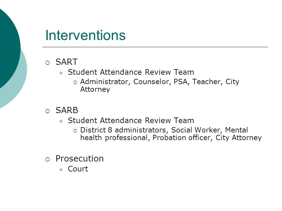 Interventions SART SARB Prosecution Student Attendance Review Team