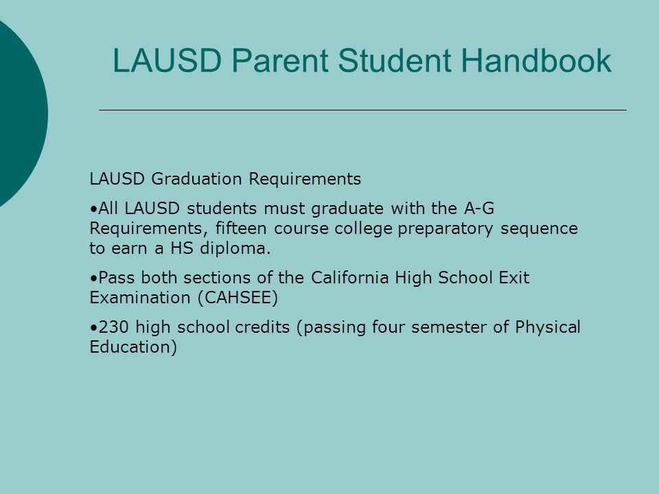 LAUSD Parent Student Handbook