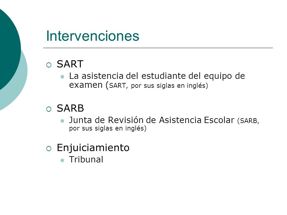 Intervenciones SART SARB Enjuiciamiento