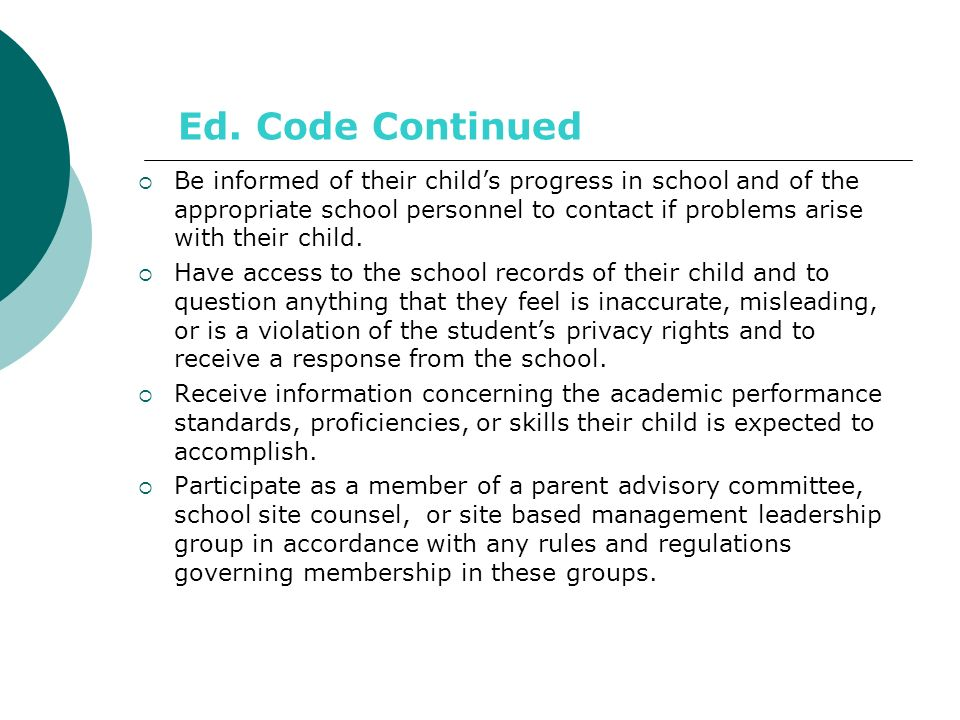 Ed. Code Continued