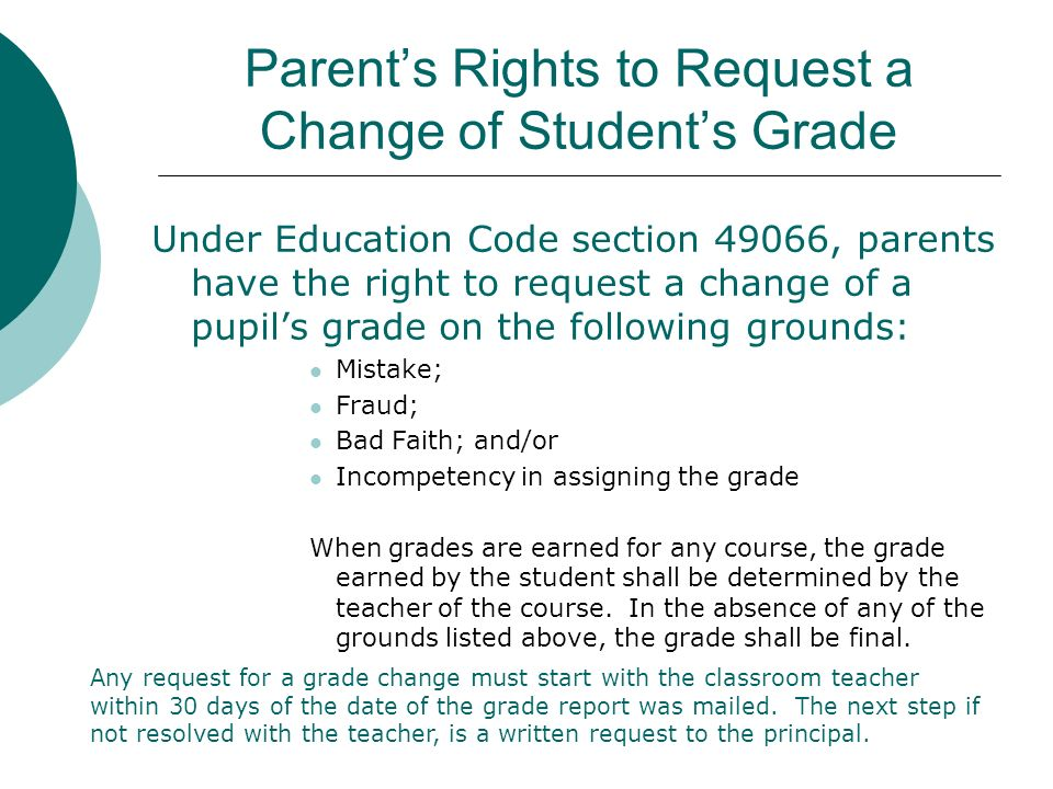 Parent's Rights to Request a Change of Student's Grade
