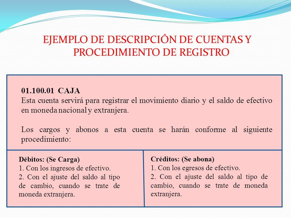 EJEMPLO DE DESCRIPCIÓN DE CUENTAS Y PROCEDIMIENTO DE REGISTRO