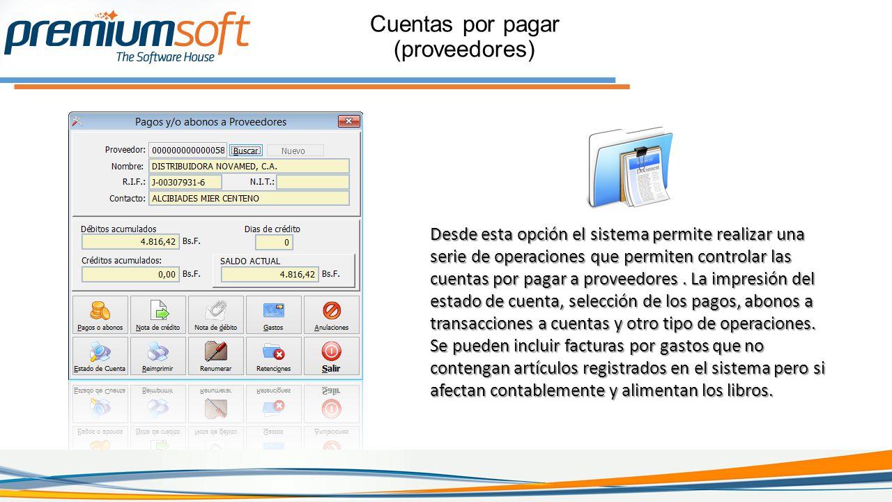 Cuentas por pagar (proveedores)