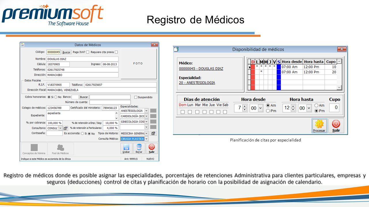 Registro de Médicos Planificación de citas por especialidad.