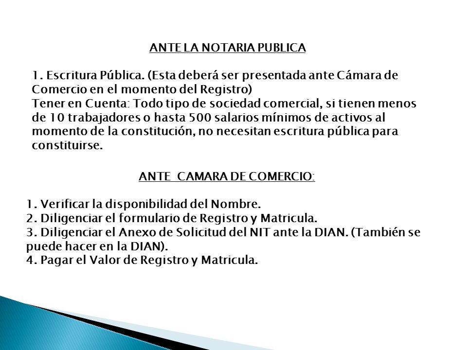 ANTE LA NOTARIA PUBLICA ANTE CAMARA DE COMERCIO: