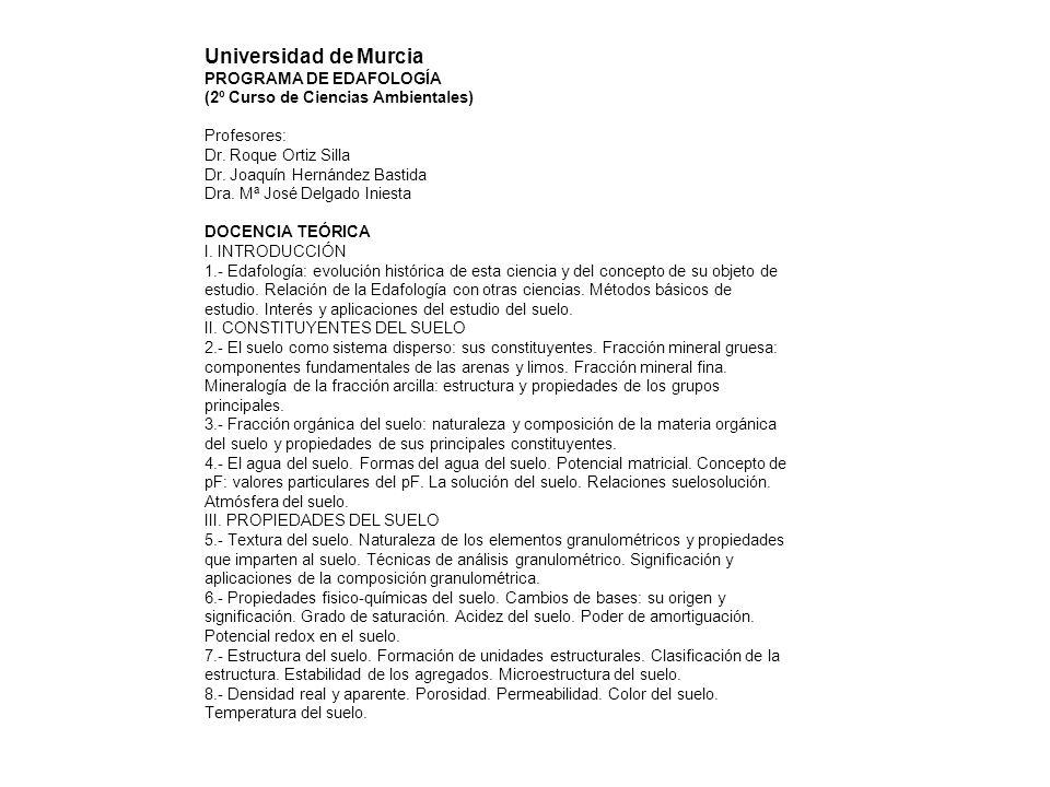 Universidad de Murcia PROGRAMA DE EDAFOLOGÍA