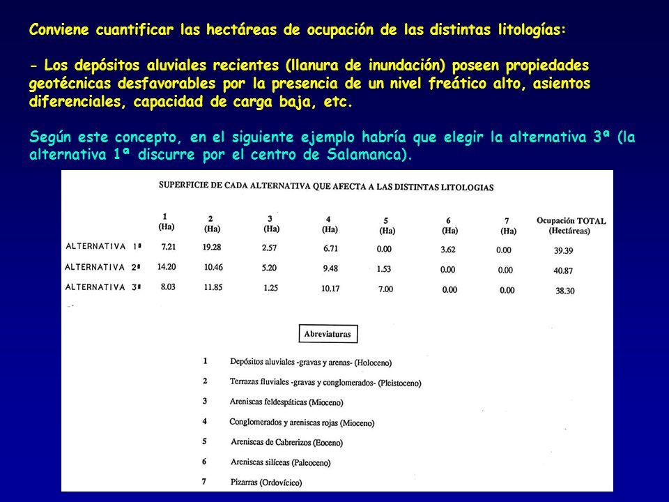Conviene cuantificar las hectáreas de ocupación de las distintas litologías: