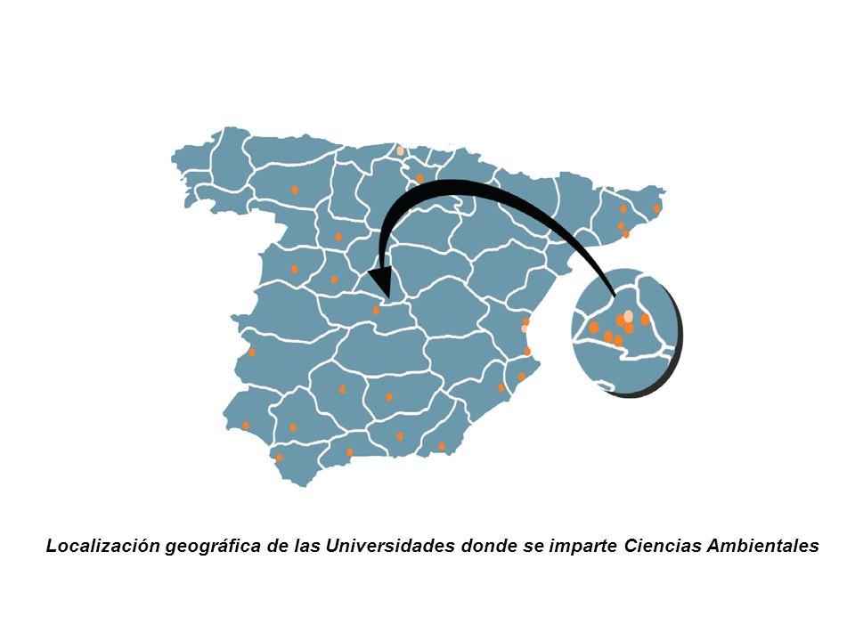 Localización geográfica de las Universidades donde se imparte Ciencias Ambientales