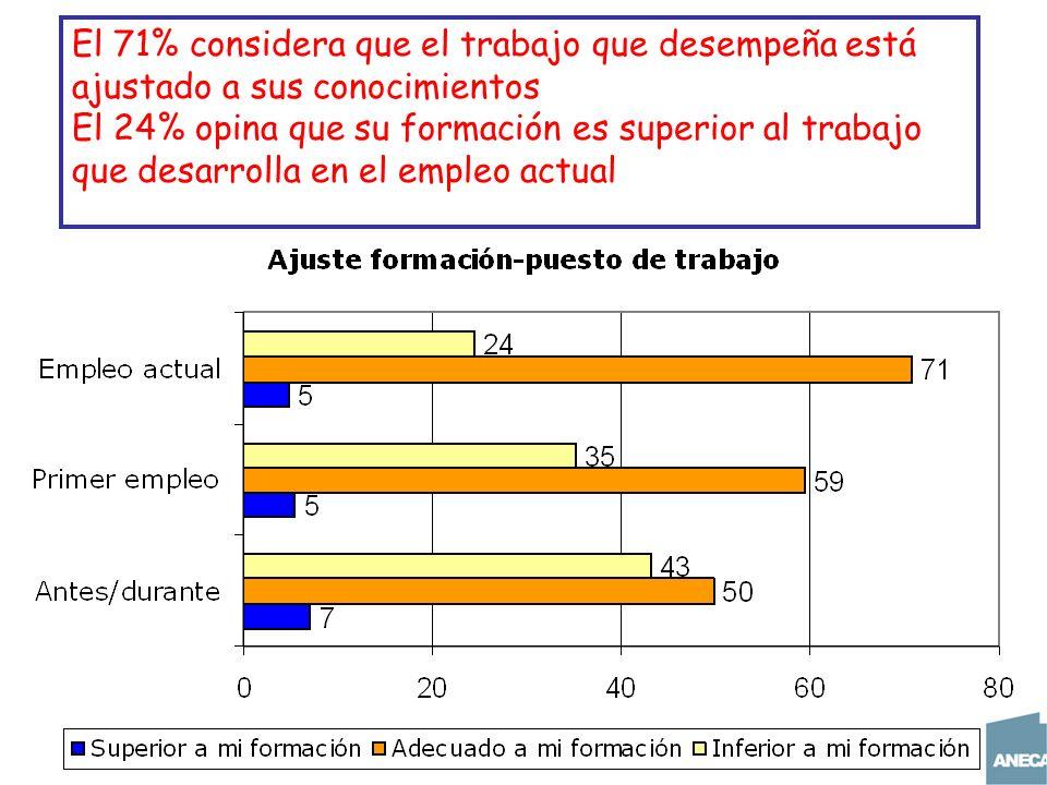 El 71% considera que el trabajo que desempeña está ajustado a sus conocimientos