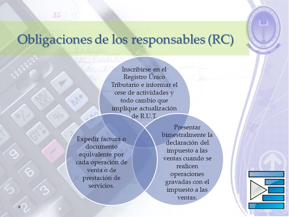 Obligaciones de los responsables (RC)