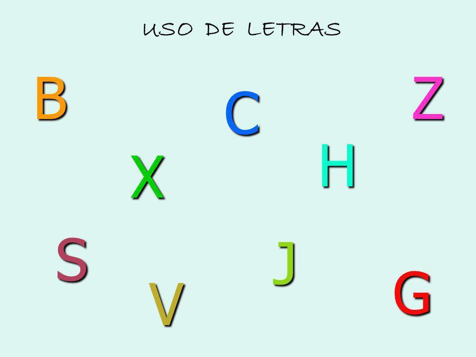 USO DE LETRAS B Z C H X S J G V