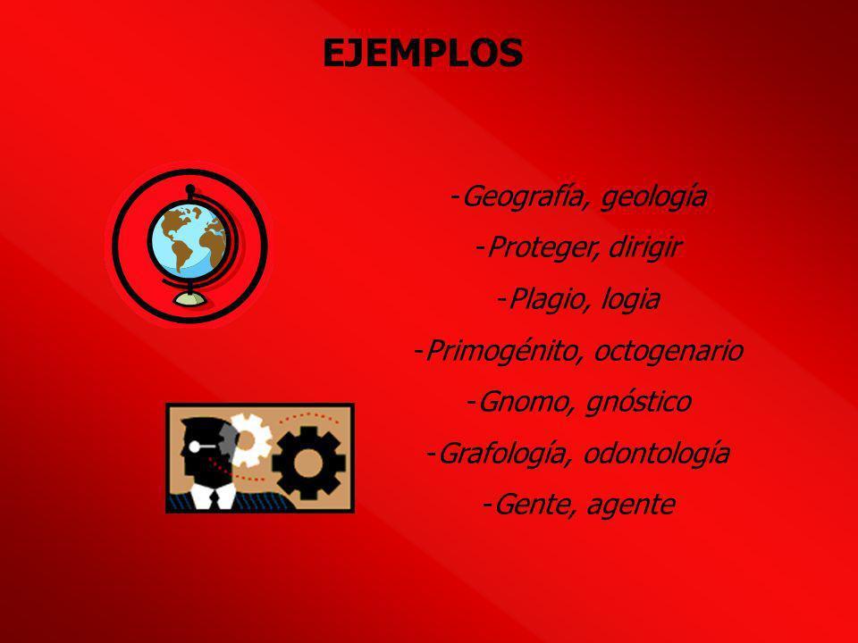 EJEMPLOS Geografía, geología Proteger, dirigir Plagio, logia