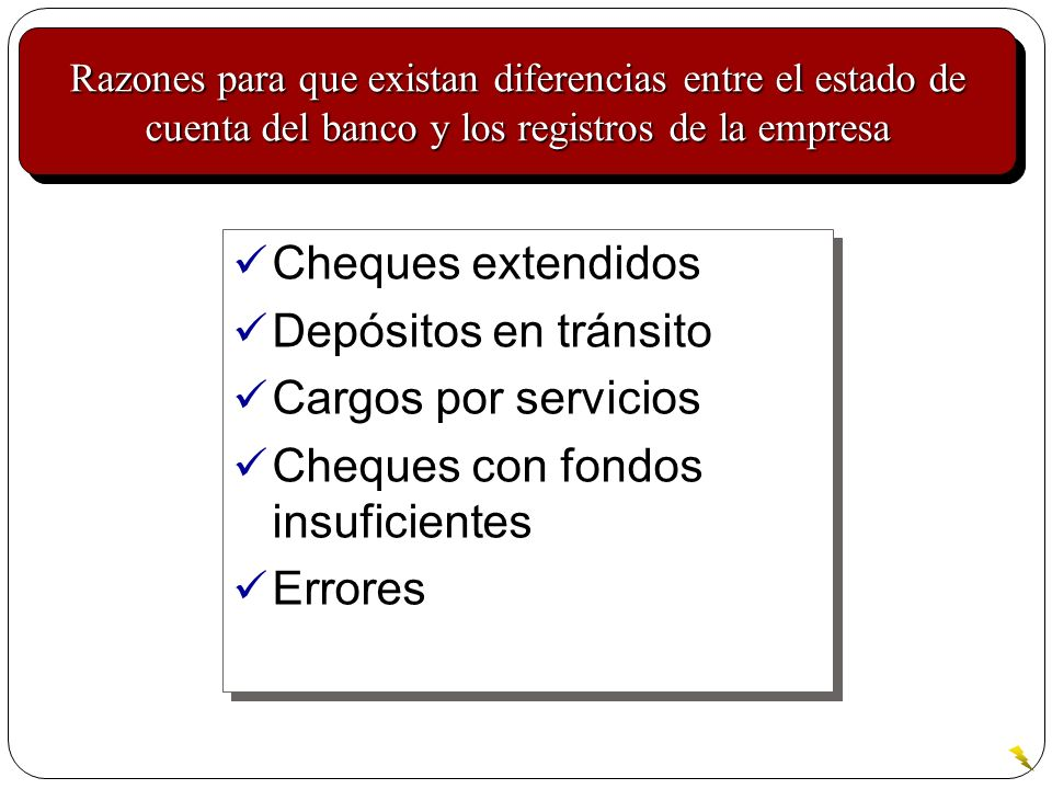 Cheques con fondos insuficientes Errores