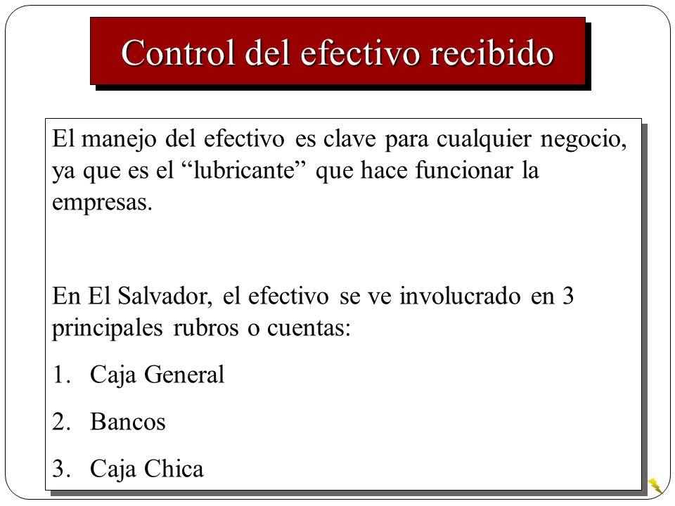 Control del efectivo recibido