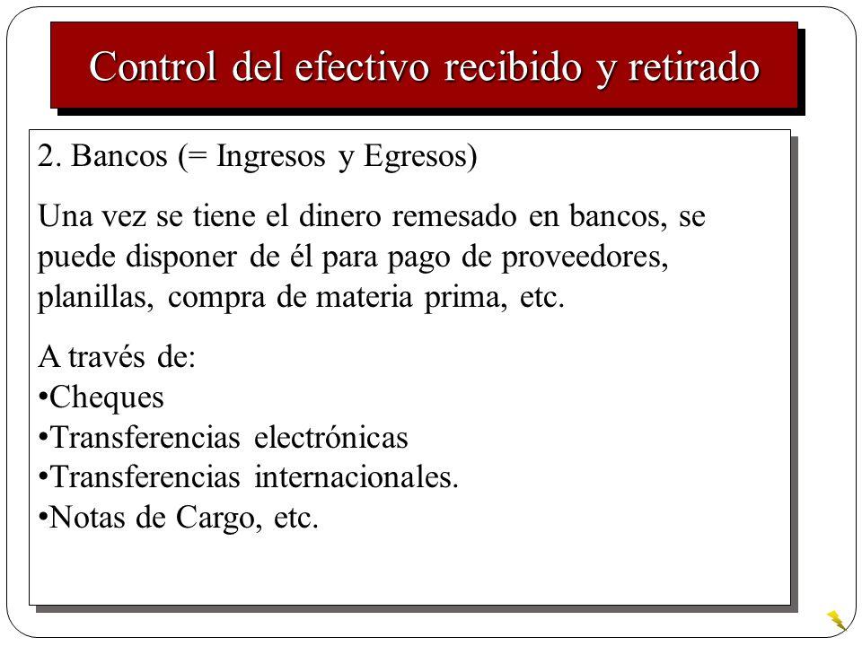 Control del efectivo recibido y retirado