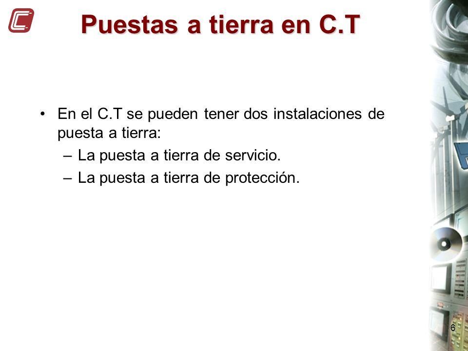 Puestas a tierra en C.T En el C.T se pueden tener dos instalaciones de puesta a tierra: La puesta a tierra de servicio.