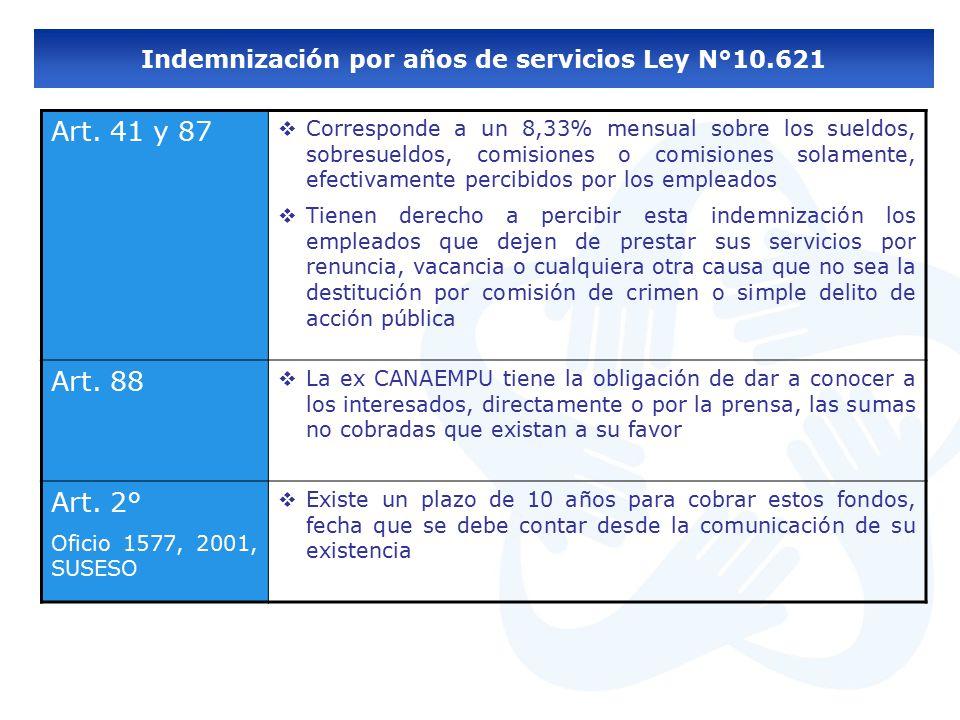 Indemnización por años de servicios Ley N°10.621