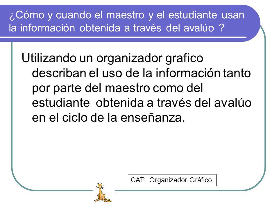 ¿Cómo y cuando el maestro y el estudiante usan la información obtenida a través del avalúo