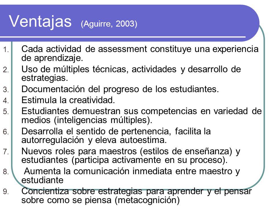 Ventajas (Aguirre, 2003)Cada actividad de assessment constituye una experiencia de aprendizaje.
