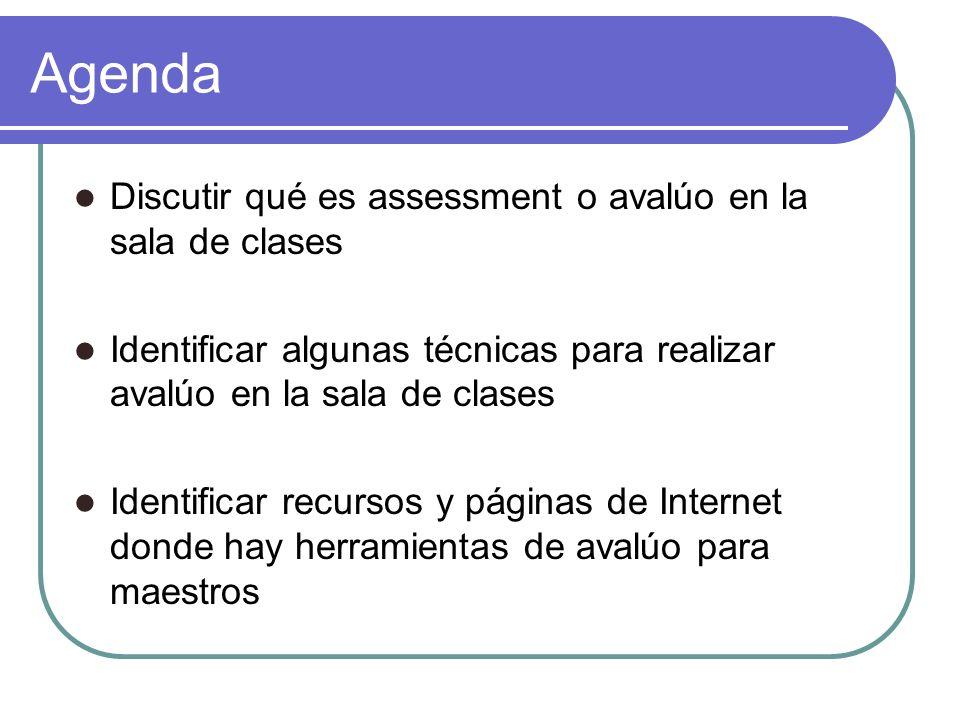 Agenda Discutir qué es assessment o avalúo en la sala de clases