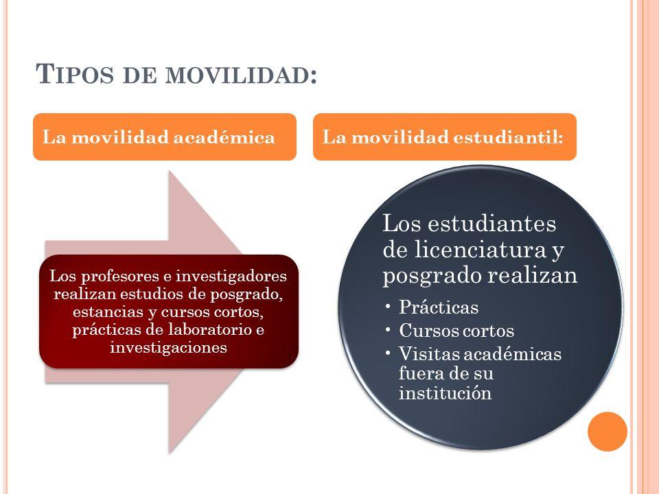 Tipos de movilidad: La movilidad académica La movilidad estudiantil: