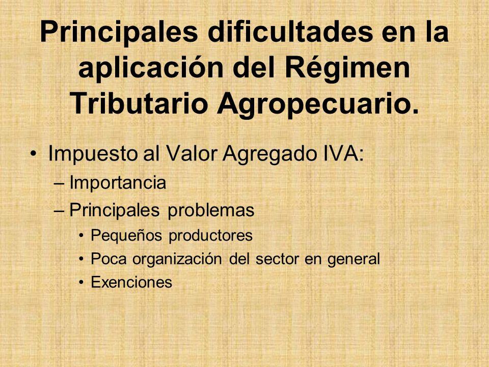 Principales dificultades en la aplicación del Régimen Tributario Agropecuario.
