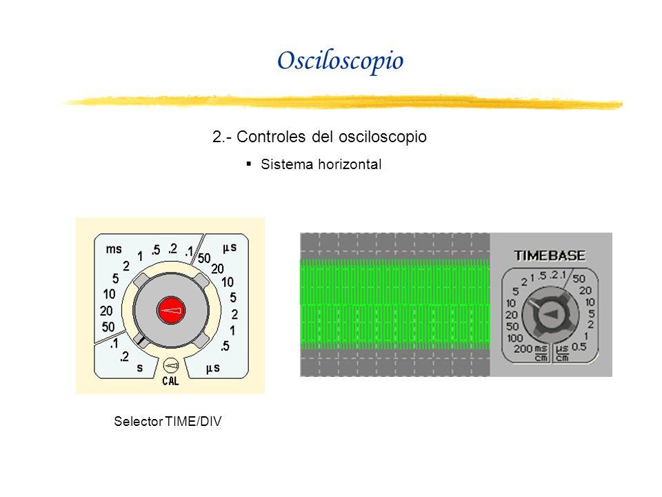 Osciloscopio 2.- Controles del osciloscopio Sistema horizontal