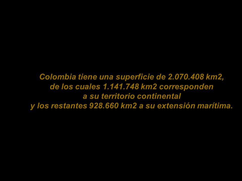 Colombia tiene una superficie de 2. 070. 408 km2, de los cuales 1. 141