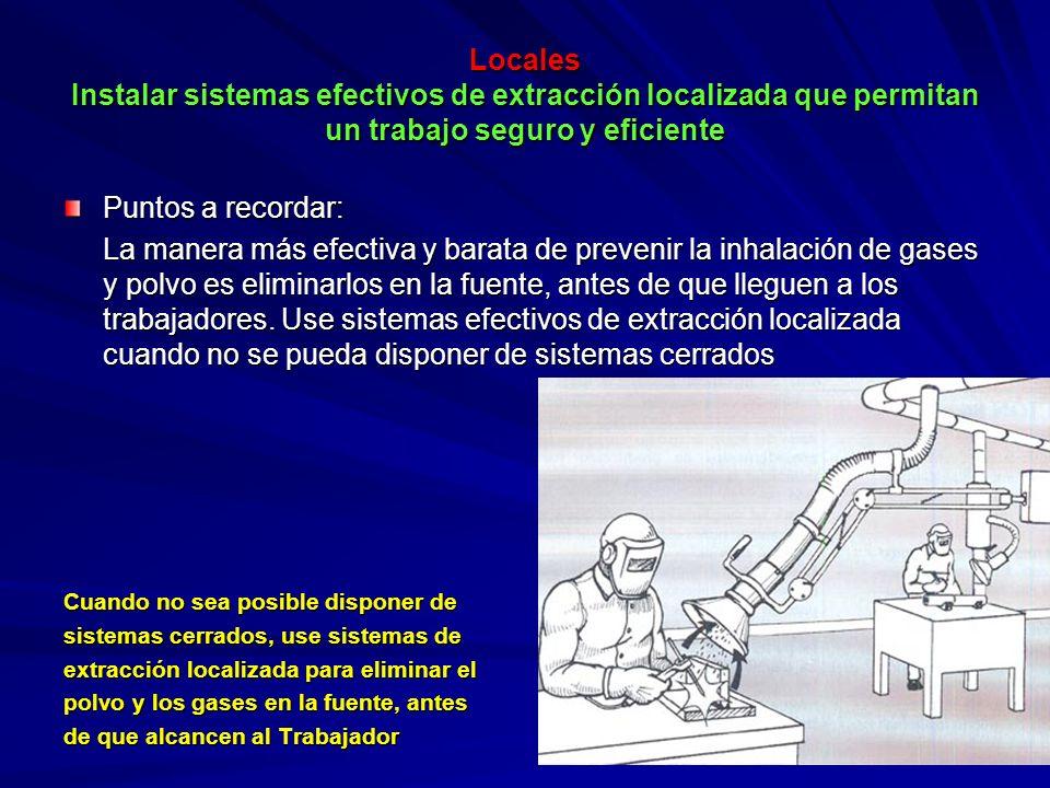 Locales Instalar sistemas efectivos de extracción localizada que permitan un trabajo seguro y eficiente