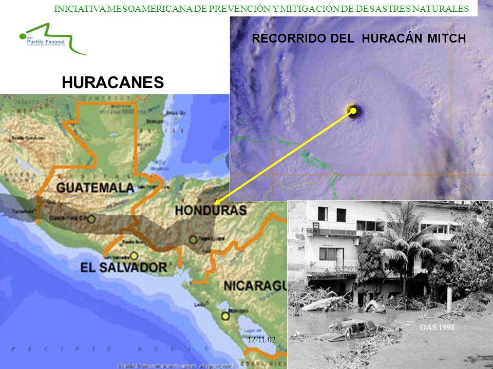HURACANES RECORRIDO DEL HURACÁN MITCH