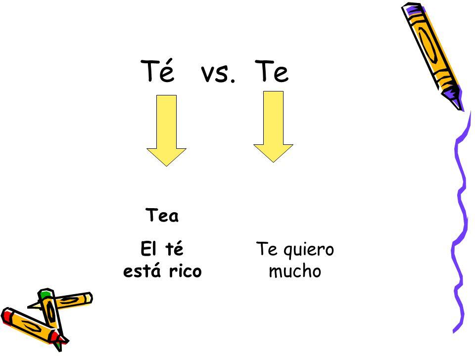 Té vs. Te Tea El té está rico Te quiero mucho