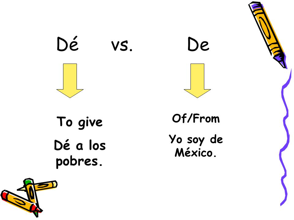 Dé vs. De Of/From Yo soy de México. To give Dé a los pobres.