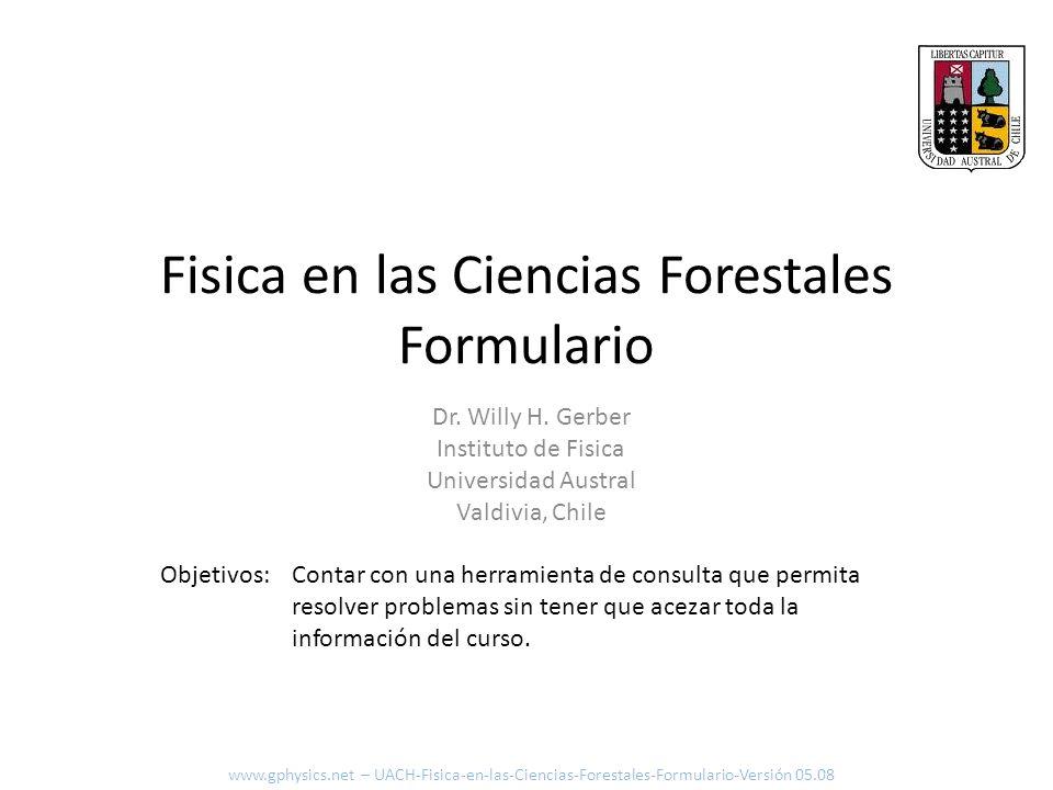 Fisica en las Ciencias Forestales Formulario