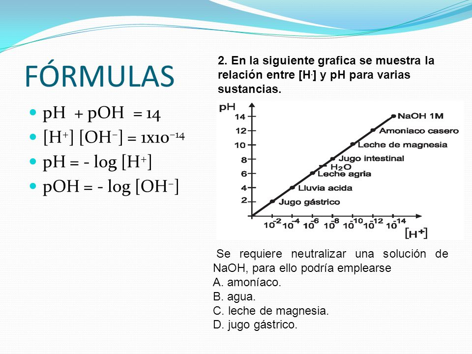 FÓRMULAS pH + pOH = 14 [H+] [OH–] = 1x10–14 pH = - log [H+]