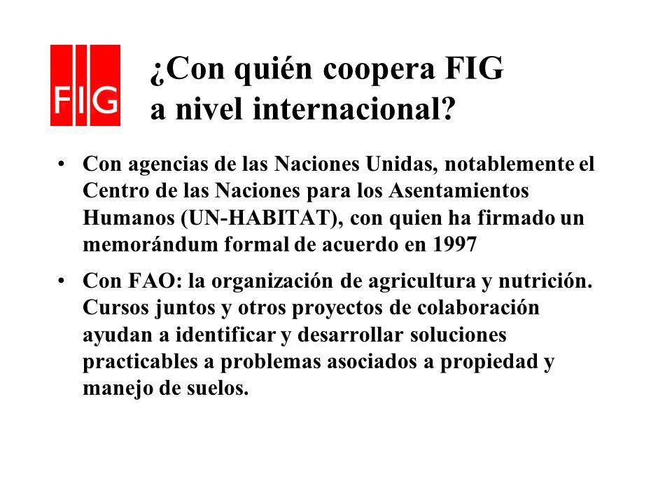¿Con quién coopera FIG a nivel internacional