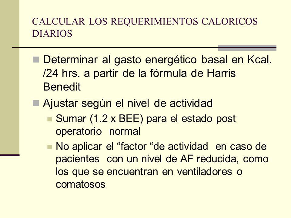 CALCULAR LOS REQUERIMIENTOS CALORICOS DIARIOS
