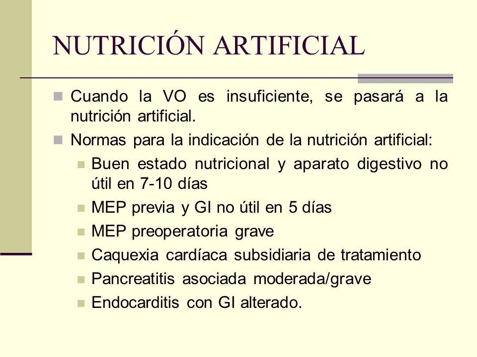 NUTRICIÓN ARTIFICIAL Cuando la VO es insuficiente, se pasará a la nutrición artificial. Normas para la indicación de la nutrición artificial: