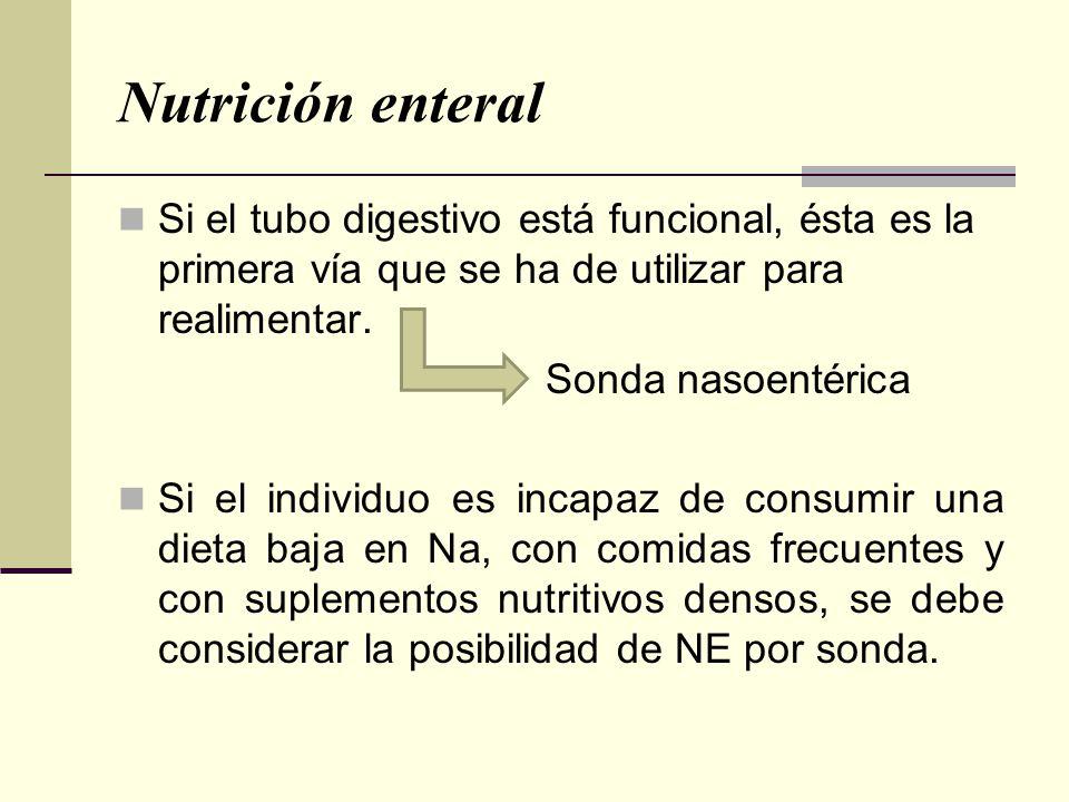 Nutrición enteral Si el tubo digestivo está funcional, ésta es la primera vía que se ha de utilizar para realimentar.
