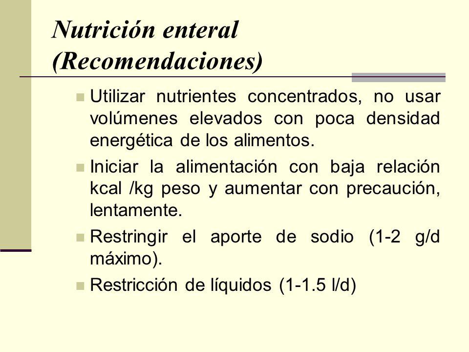 Nutrición enteral (Recomendaciones)