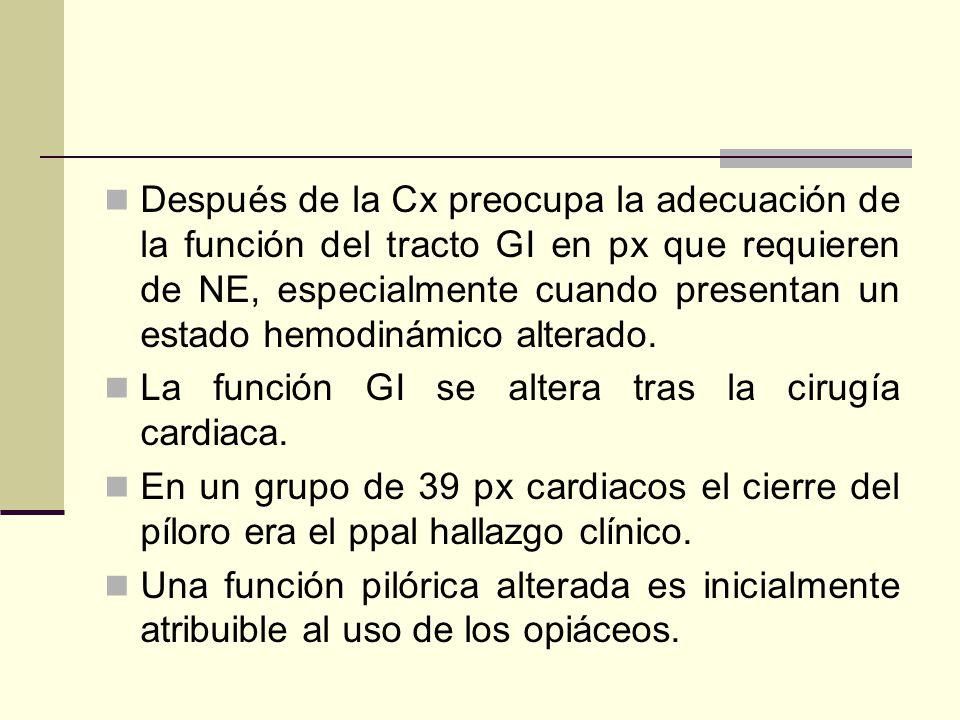 Después de la Cx preocupa la adecuación de la función del tracto GI en px que requieren de NE, especialmente cuando presentan un estado hemodinámico alterado.