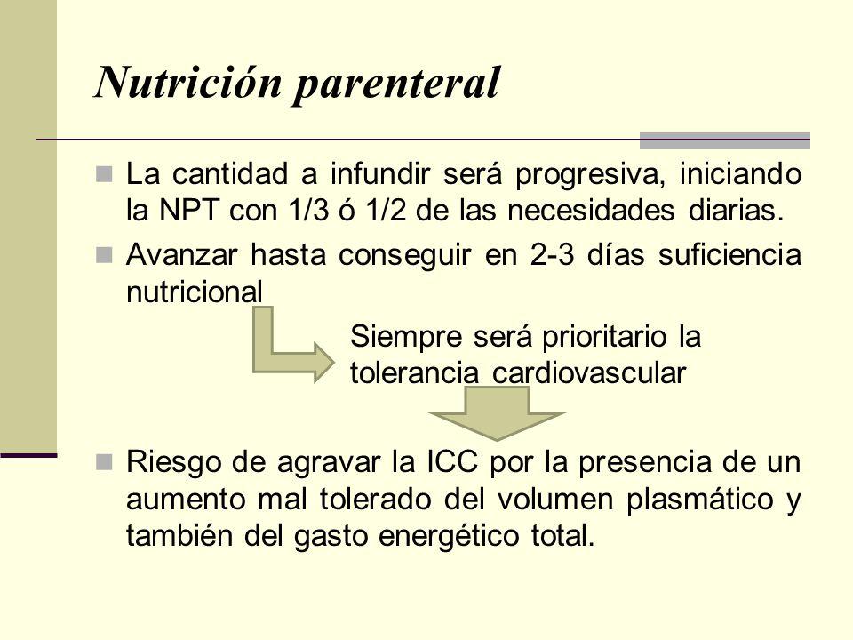 Nutrición parenteral La cantidad a infundir será progresiva, iniciando la NPT con 1/3 ó 1/2 de las necesidades diarias.