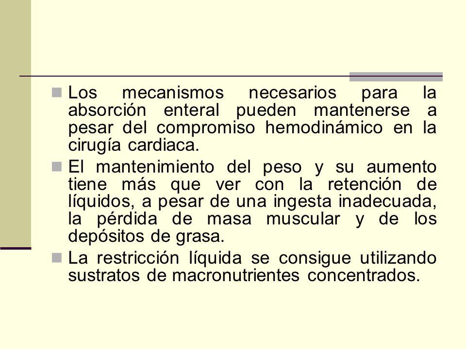 Los mecanismos necesarios para la absorción enteral pueden mantenerse a pesar del compromiso hemodinámico en la cirugía cardiaca.