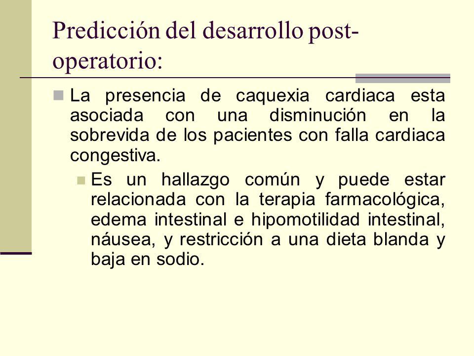 Predicción del desarrollo post-operatorio:
