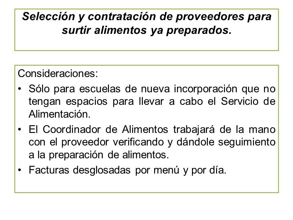 Selección y contratación de proveedores para surtir alimentos ya preparados.
